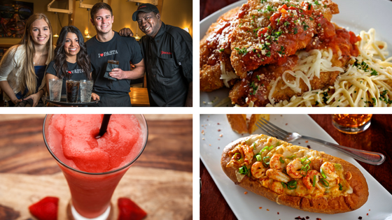 Staff, Chicken Parmesan, Stawberry Bellini, Crawfish Bread